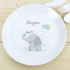 Hessian Elephant Personalised Plastic Plate