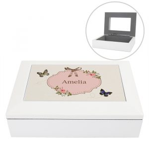 Personalised Butterfly White Wooden Jewellery Box