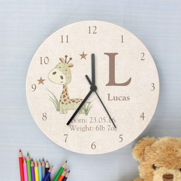 Personalised Wooden Children's Clock