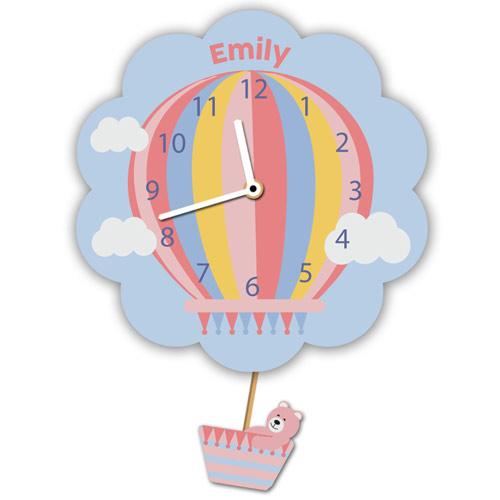 Pink Hot Air Balloon Clock