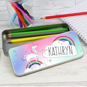 Unicorn Personalised Pencil Tin