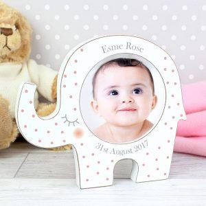 Personalised Pink Elephant Photo Frame