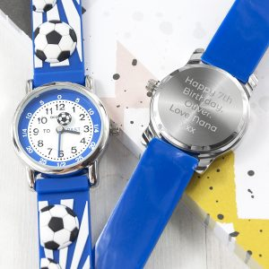 Personalised Blue Football Watch
