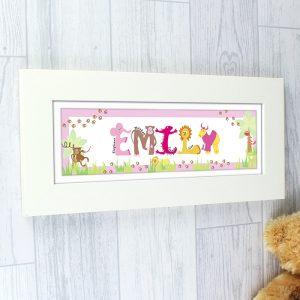 Personalised Animal Name Frame - Pink