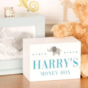 Baby Boys Elephant Design Personalised Wooden Money Box