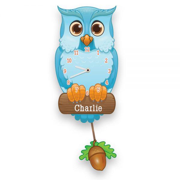 Personalised Owl Clock - Blue