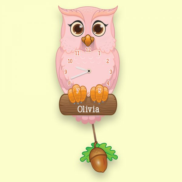 Personalised Pendulum Owl Clock
