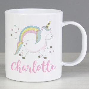 Personalised Unicorn Plastic Mug