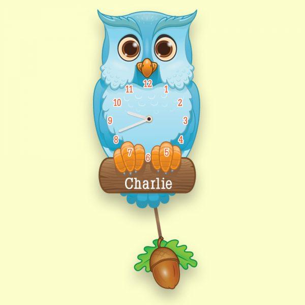 Personalised Pendulum Blue Owl Clock