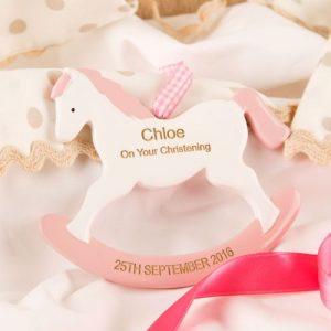 Rocking Horse Ornament Pink