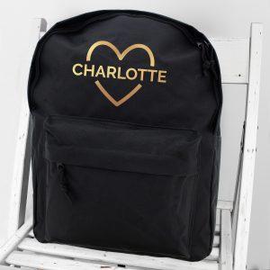 Personalised Backpack School Bag - Gold Heart