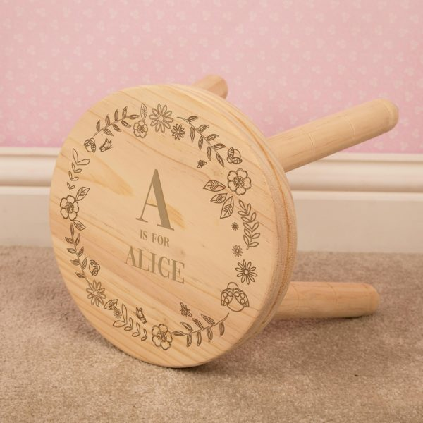 Personalised Wooden Stool for Girl