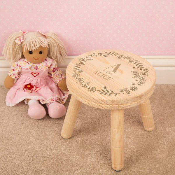 Girls Personalised Wooden Stool
