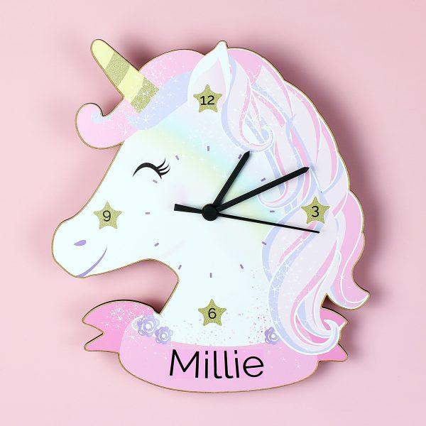 Children's Personalised Wall Clock Unicorn