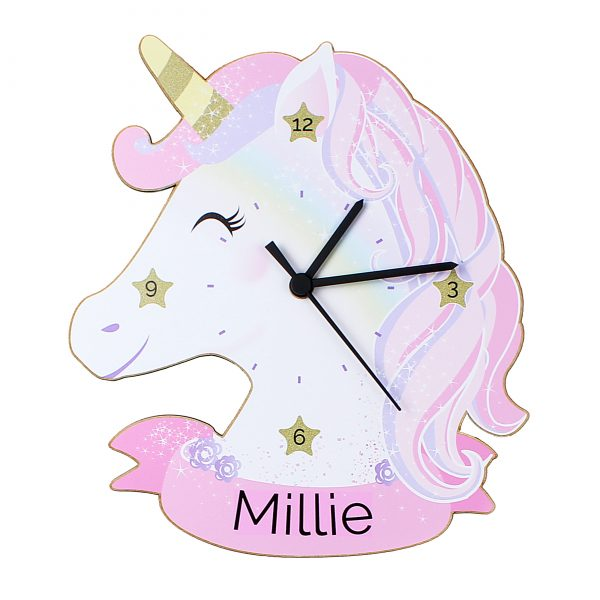 Children's Personalised Clock Unicorn