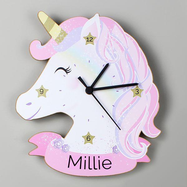 Personalised Wooden Unicorn Clock