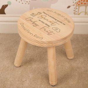 personalised wooden stool baby feet