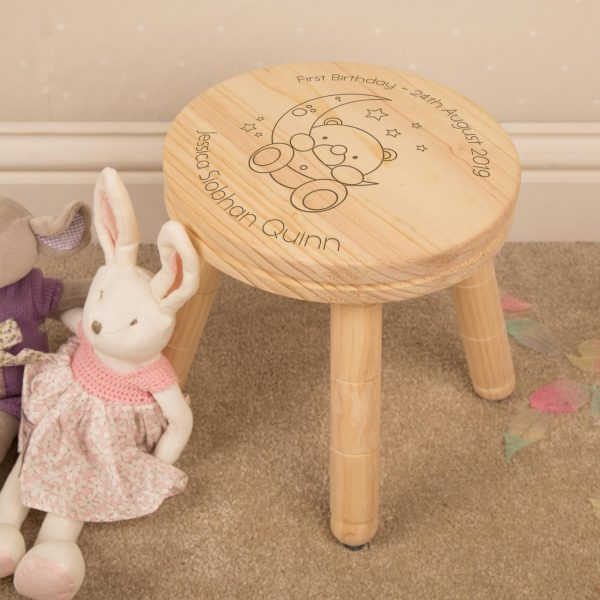 Personalised Wooden Stool Baby Bear