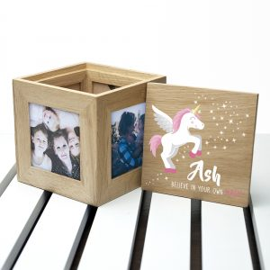 Baby Unicorn Personalised Photo Cube Keepsake Box