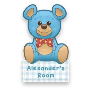 Blue Teddy Door Name Plaque