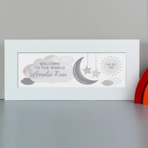 Personalised New Baby Moon Stars Framed Print