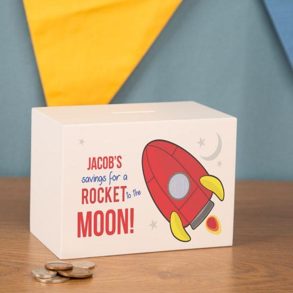 Personalised Space Rocket Money Box