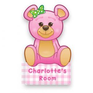 Pink Teddy Door Name Plaque
