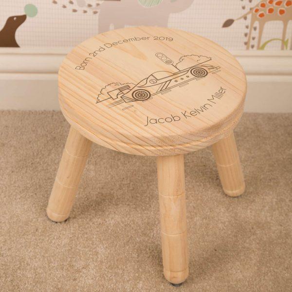 childrens personalised racing car stool