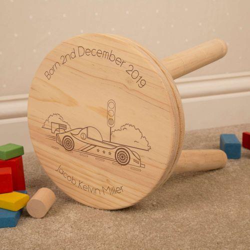 racing car personalised wooden stool
