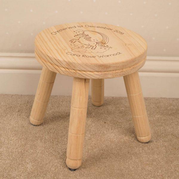 unicorn childrens wooden stool