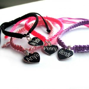 Personalised Heart Charm Friendship Bracelet