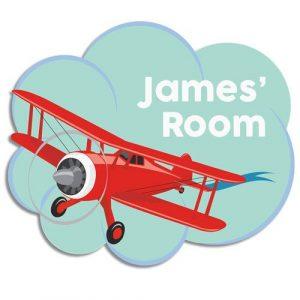 Biplane Bedroom Door Plaque