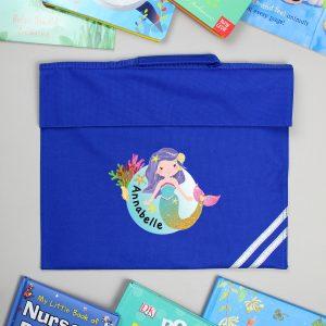 Personalised Mermaid Blue Book Bag