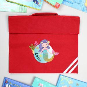 Personalised Mermaid Red Book Bag