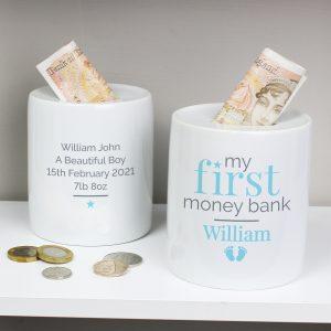 My First Ceramic Money Box - Blue