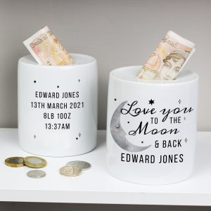 Personalised Moon and Back Money Box