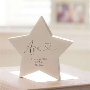 Wooden New Baby Personalised Star