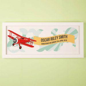 Childs Aeroplane Personalised Framed Print
