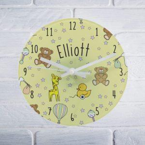 Nursery Scene Glass Round Clock