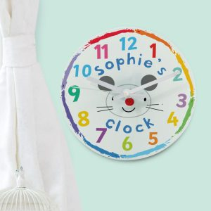 Arty Mouse Face Glass Clock