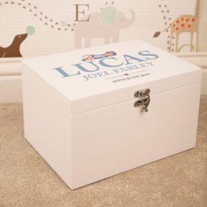 Baby Boy Personalised White Keepsake Box