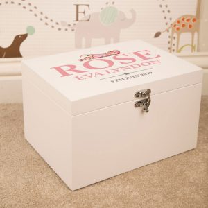 Baby Girl Personalised White Keepsake Box