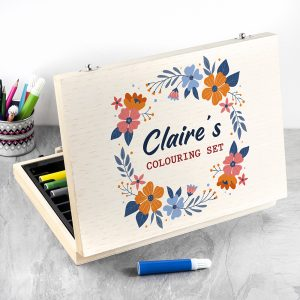 Personalised Flower Garland Colouring Set