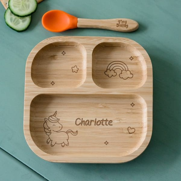 Unicorn Bamboo Suction Plate & Spoon