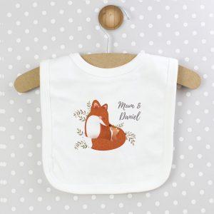 Personalised New Baby Gift - Mummy and Me Fox Bib