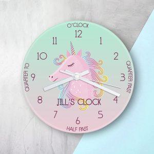 Personalised Large Unicorn Glass Clock