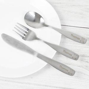 Personalised 3 Piece Teddy Cutlery Set