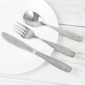 Personalised 3 Piece Hessian Friends Cutlery Set