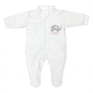 Personalised Pink Elephant 0-3 Months Babygrow