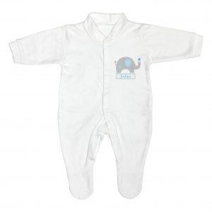 Personalised Blue Elephant 0-3 Months Babygrow